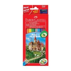 Faber-Castell Ξυλομπογιές Κάστρο σετ 12χρώματα με δώρο ξύστρα 120112 7891360580089