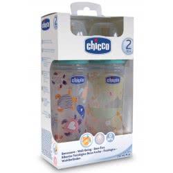 Chicco Σετ 2 Μπιμπερό Πλαστικό Well Being 250 Kaoyt 70710-00 8033828710983