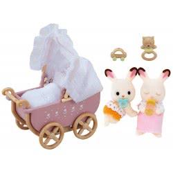 Epoch Sylvanian Families Chocolate Rabbit Σετ Διπλό Καροτσάκι Με Δίδυμα Μωρά 5018 5054131050187