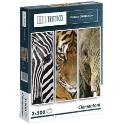 Clementoni Παζλ 500τεμ. Animals Trittico Άγρια ζωή Τρίπτυχο 1260-39307 8005125393077