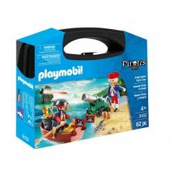 Playmobil Βαλιτσάκι Λιμενοφύλακας με κανόνι και πειρατής σε βάρκα 9102 4008789091024