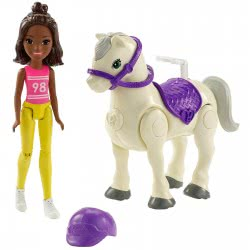 Mattel Barbie On The Go - Horse And Doll, Yellow And Pink Outfit FHV60 / FHV61 887961529708