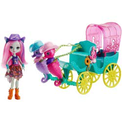 Mattel Enchantimals Seahorse Carriage Sandella Seahorse Doll And Playset FKV61 887961552478