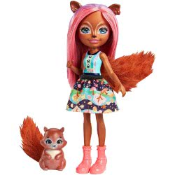 Mattel Enchantimals Σάντσα Σκιουρίτσα Κούκλα & Ζωάκι Φιλαράκι FNH22 / FMT61 887961581232