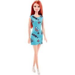 Mattel Barbie Μοντέρνα φορέματα-μπλε φόρεμα, κοκκινομάλλα κούκλα T7439 / FJF18 887961534603