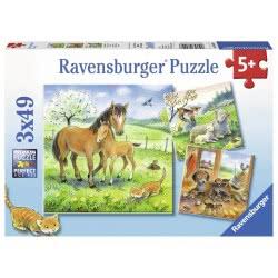 Ravensburger Παζλ 3x49 τεμ. Ζώα με τα Μικρά τους 08029 4005556080298