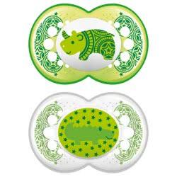 MAM Πιπίλα Clear Printed Ασπίδα 6+ Μηνών Σιλικόνης, 2 Τεμάχια - 4 Χρώματα 180S 9001616673160