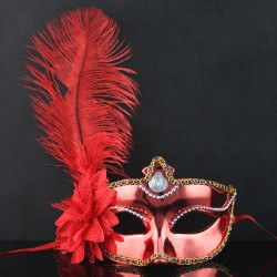 maskarata Κόκκινη Μάσκα με Λουλούδι και Φτερά A0434 5200304404343