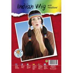 CLOWN Περούκα Ινδιάνου Ινδιάνας Με Κορδέλα Και Κοτσίδες 70639 5203359706394