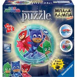 Ravensburger 3D Puzzle Night Light 72 pcs PJ Masks 11773 4005556117734