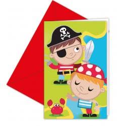 PROCOS Pirates Treasure Hunt Invitations & Envelopes.  For a perfect birthday party. 088255 5201184882559
