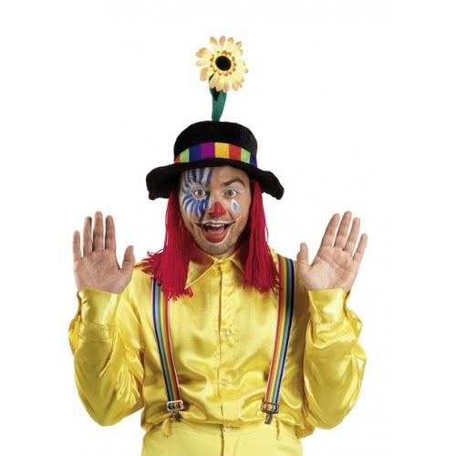 CLOWN Καπέλο Μαύρο Με Κόκκινα Μαλλιά Και Λουλούδια 70928 5203359709289