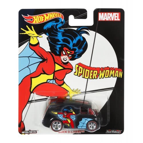 ef65eb40d4 Mattel Hot Wheels Pop Culture Marvel Real Riders Spider-Woman Quick  D-livery Venicle