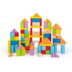 Hape Wooden Blocks - Πολύχρωμα Τουβλάκια Σε Κουτί Αποθήκευσης - 101Τεμ. E8247 6943478018525