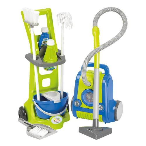 ecoiffier Clean Home Παιδικό Σετ Τρόλευ Καθαρισμού με Ηλεκτρική Σκούπα 1770 3280250017707