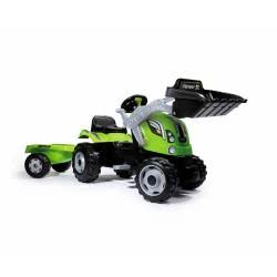 Smoby Farmer Max Green Tractor Μπουλντόζα Με Τρέιλερ 710109 3032167101099