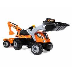 Smoby Builder Tractor Μπουλντόζα Με Τρέιλερ 710110 3032167101105