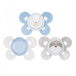 Chicco Soother Physio Comfort Silicone 0-6M, Blue 2pc - 3 Designs 74931-21 8058664082506