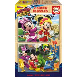 EDUCA Wooden Puzzle 2x16 Mickey and the Roadster Racers 17622 8412668176225