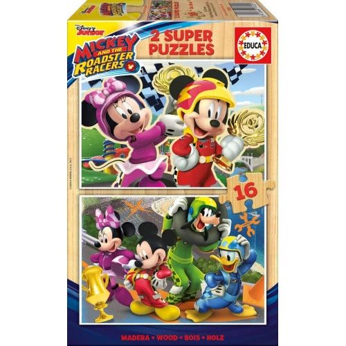 EDUCA Ξύλινο Παζλ 2x16τμχ Mickey and the Roadster Racers 17622 8412668176225