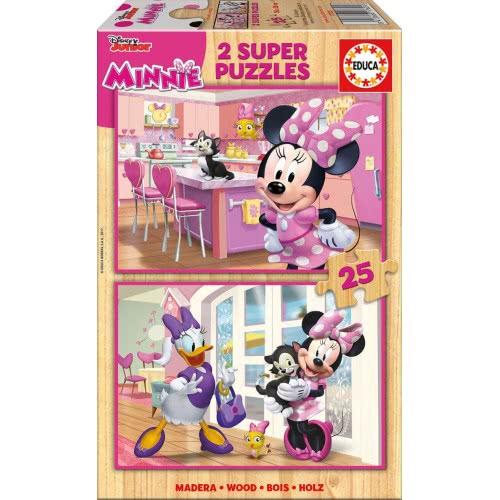 EDUCA Ξύλινο Παζλ 2x25 Minnie Happy Helpers 17625 8412668176256