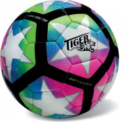 star Leather Soccer Ball New Match Line Fluo Multicolor, Size 5 35/801 5202522008013
