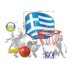 OEM Σετ Μπασκέτα Με Ελληνική Σημαία Στο Ταμπλό, Μπάλα Και Τρόμπα 4-04323 5205812027671