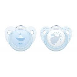 NUK Trendline Baby Rose And Blue Ορθοδοντική Πιπίλα Σιλικόνης Μπλε, 6-18 Μηνών - 2 Σχέδια 10736157 4008600282266