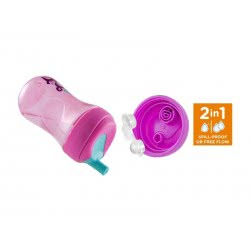 Chicco Advanced Cup Easy Drinking 12+m, Παγουράκι για Βαθμιαία Εκμάθηση με Καλαμάκι, 2 σε 1 με Βαλβίδα ή Χωρίς, Χρώμα Μωβ F04-06