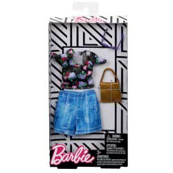 Mattel Barbie Fashion Βραδινά Σύνολα, Μαύρη Μπλούζα με Λουλούδια και Τζιν Φούστα FND47 / FLP79 887961588583