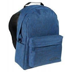 MUST Σχολική Τσάντα Πλάτης Monochrome Τζιν Μπλε Σκούρο, 2 Θήκες, 32x17x42εκ. 579408 5205698248528