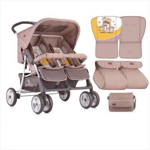 Lorelli Παιδικό Καρότσι Για Δίδυμα Beroni Twin Beige & Yellow Happy Family 1002007 1803 3800151902058