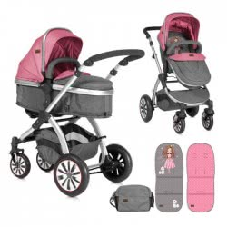 Lorelli Baby Combi Stroller Aurora 2-1 Rose and Grey Princess 1002092 1844 3800151955610