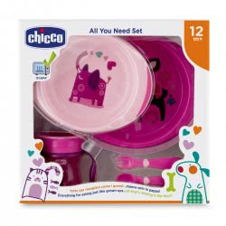 Chicco Eating Set All You Need Set 12M+ Pink F06-16201-10 8058664086696