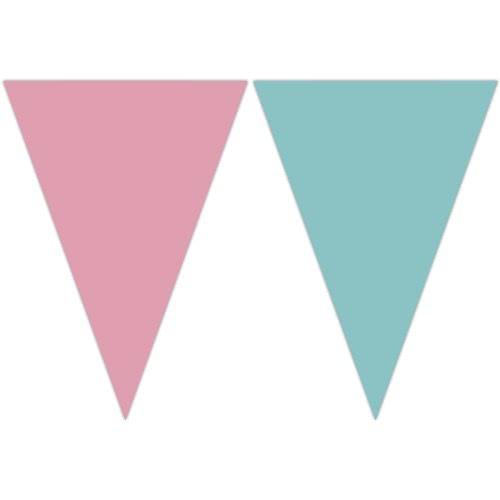PROCOS Decorata Γιρλάντα Τρίγωνη Πλαστική Ροζ - Τυρκουαζ (9 σημαιάκια) 089508 5201184895085