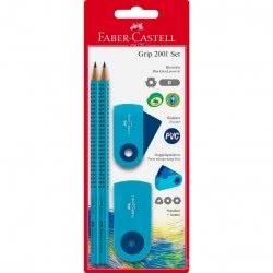 Faber-Castell Set Grip Sleeve 2 Μολύβια και Γόμα και Ξύστρα διπλή Μπλε 217005 5201612772049