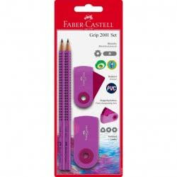 Faber-Castell Set Grip Sleeve 2 Μολύβια και Γόμα και Ξύστρα διπλή Βιολετί 217006 5201612772056