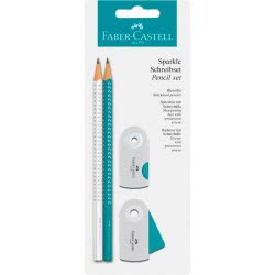 Faber-Castell Blister Sparkle 2 Pencils, Eraser And Sharpener - Coral, White 218486 4005402184866