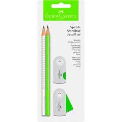 Faber-Castell Blister σετ με 2 Sparkle Μολύβια με γόμα και ξύστρα Λευκό- 218488 4005402184880