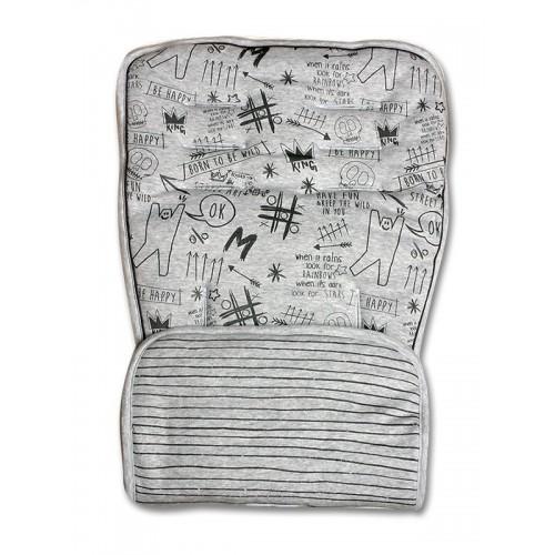 Minene Pushchair Liner Graffity - Grey Stripes, Grey 40357 7297476160489