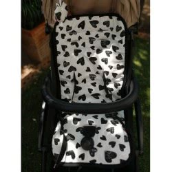 Minene Pushchair Liner with Hearts, Black and White 22702 7297476157687