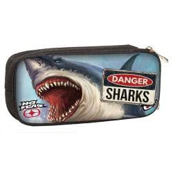 NO FEAR Back Me Up Danger Sharks Pencil Case 347-40141 5204549112131