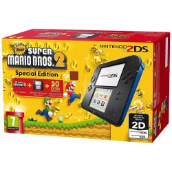 Nintendo 2DS Console Black - Blue and New Super Mario Bros 2  5201062009597