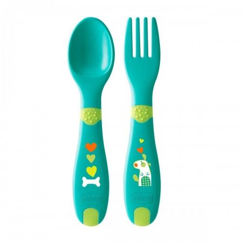 Chicco First Cutlery Σετ Πιρούνι - Κουτάλι 12M+ Πράσινο F01-16101-30 8058664086627
