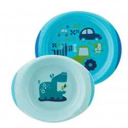 Chicco Dish Set Plate and Bowl Blue 12Μ+ F05-16002-20 8058664086580