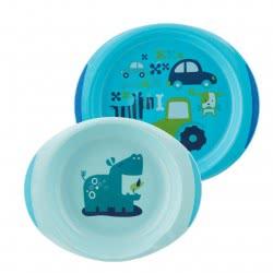 Chicco Dish Set Σετ Γεύματος Πιάτο και Μπωλ Γαλάζιο 12Μ+ F05-16002-20 8058664086580