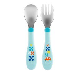 Chicco Metal Cutlery Mix And Match Fork And Spoon 18M - 2 Colours F05-16102-20 8058664086641