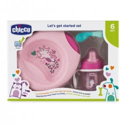 Chicco Eating Set Let's Get Started Set Pink 6M+ F06-16200-10 8058664086665