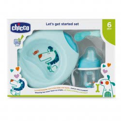 Chicco Eating Set Let's Get Started Set Blue 6M+ F06-16200-20 8058664086672