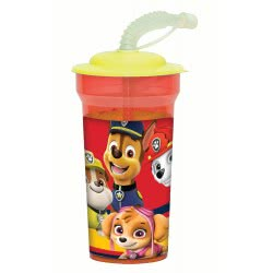 GIM Paw Patrol Action Water Canteen with Straw 450ml 555-06225 5204549108608